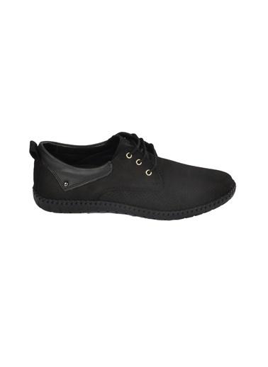 Castle Black 21108 Deri Bağcıklı Erkek Comfort Ayakkabı Siyah